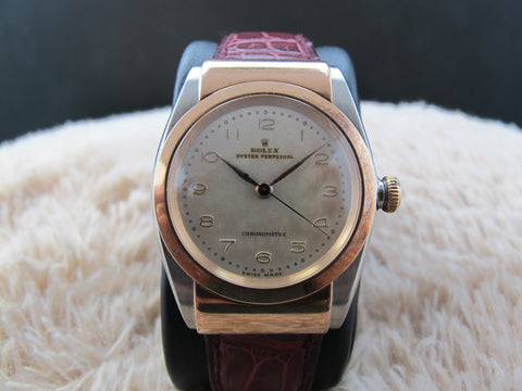 1947 Rolex HOODED BUBBLEBACK 3065 2-Tone Pink Gold with Creamy Dial