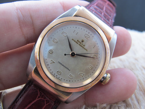 [1947] Rolex HOODED BUBBLEBACK 3065 2-Tone Pink Gold with Creamy Dial