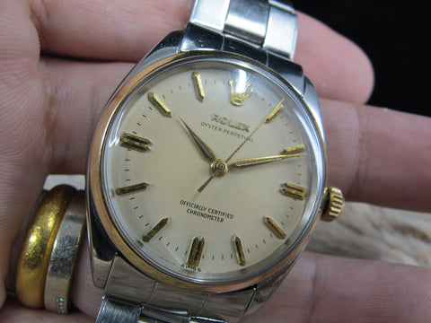 [1958] Rolex OYSTER PERPETUAL 6564 2-T with Original Creamy Dial Full Set