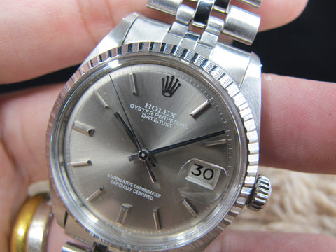 1977 Rolex DATEJUST 1603 SS ORIGINAL Grey (No Lume) SIGMA Dial Full Set