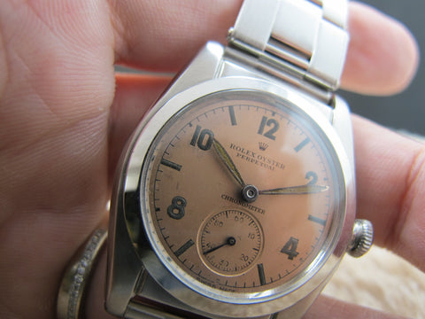 1946 Rolex BUBBLEBACK 2940 with Original Salmon Arabic Dial with Sub-Seconds