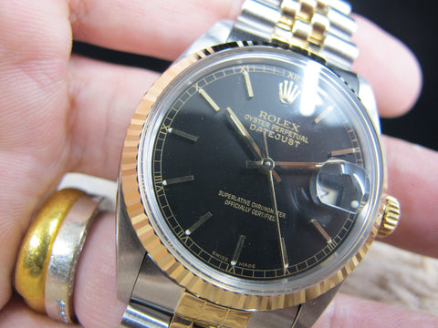 [1987] Rolex DATEJUST 16013 2-Tone with ORIGINAL Glossy Black Dial with Paper