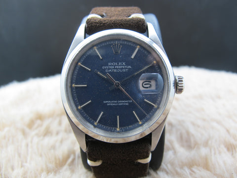 1970 Rolex DATEJUST 1600 SS ORIGINAL Matt Blue Star Dust Dial
