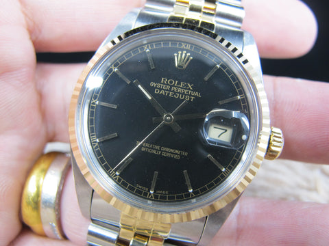 1987 Rolex DATEJUST 16013 2-Tone with ORIGINAL Glossy Black Dial with Paper