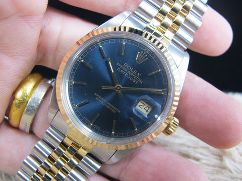 1987 Rolex DATEJUST 16013 2-Tone with ORIGINAL Glossy Blue Dial with Paper