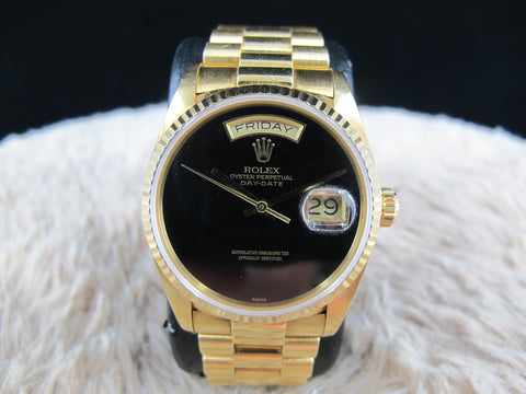 1988 Rolex DAY-DATE 18038 with Original Glossy Onyx Dial and Paper