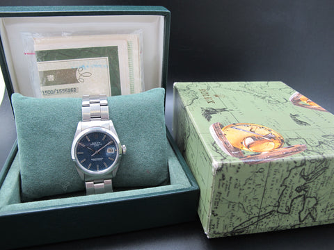 1967 Rolex OYSTER DATE 1500 Original Blue Texture Dial Box and Papers