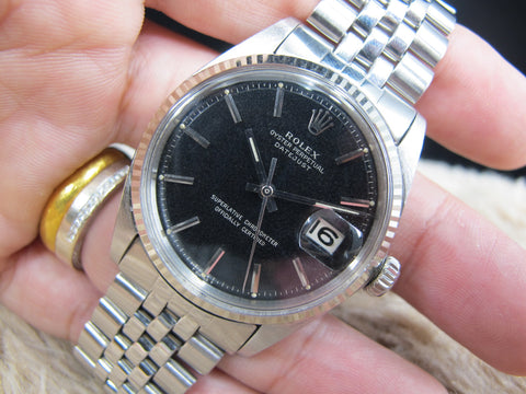 1967 Rolex DATEJUST 1601 SS Original Glossy Gilt Dial with Folded Jubilee Band