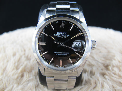 [1978] Rolex DATEJUST 16000 with Original Glossy Black Dial with Solid Oyster Band