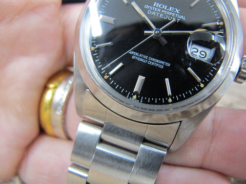 1978 Rolex DATEJUST 16000 with Original Glossy Black Dial with Solid Oyster Band