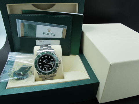 2017 Rolex SUBMARINER 116610LV Green Ceramic Bezel LIKE NEW
