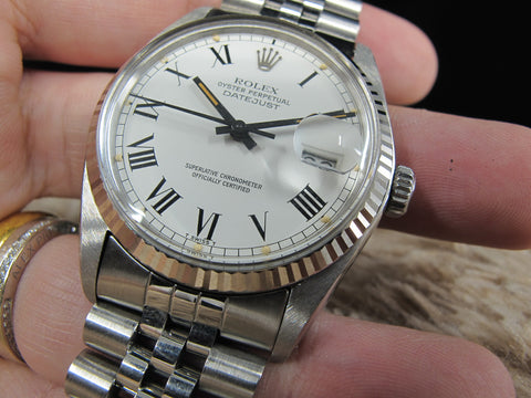 [1981] Rolex DATEJUST 16014 SS Original White Buckley Dial with Paper