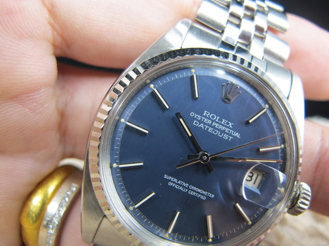 1972 Rolex DATEJUST 1601 SS with ORIGINAL Matte Blue Dial with Paper