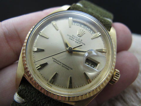 1962 Rolex DAY-DATE 1803 18K Gold with Original Claw Dial and Service Paper