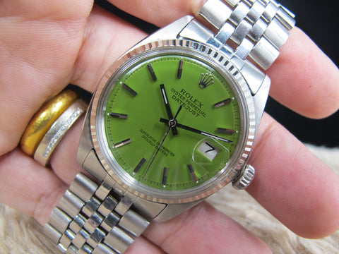 "1968 Rolex DATEJUST 1601 SS with Glossy ""Stella"" Green Dial"