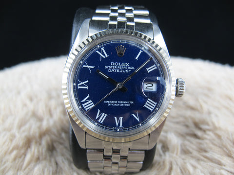 1967 Rolex DATEJUST 1601 SS Blue Buckley Dial with Folded Jubilee Band