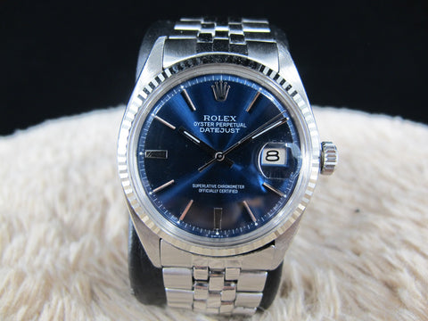 1968 Rolex DATEJUST 1601 SS Glossy Blue Dial with Folded Jubilee