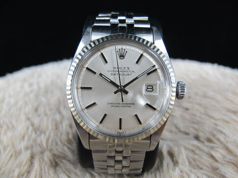 1969 Rolex DATEJUST 1601 SS ORIGINAL Silver Dial with Folded Jubilee