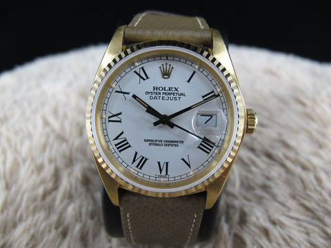 1980 Rolex DATEJUST 16018 18K YG Original White Buckley Dial
