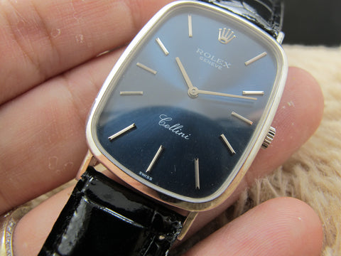 1981 Rolex CELLINI 4113 18K White Gold with Original Glossy Blue Dial