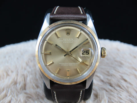 1974 Rolex DATEJUST 1600 2-Tone SS/Gold ORIGINAL Brown Sigma Dial