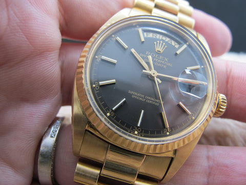 1972 Rolex DAY-DATE 1803 18K Yellow Gold with Original Charcoal Dial Full Set
