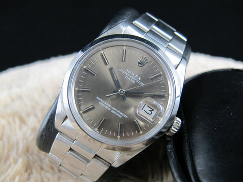 1969 Rolex OYSTER DATE 1500 Original Brownish Grey Dial with Solid Band