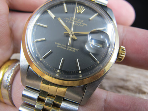 1971 Rolex DATEJUST 1600 2-Tone SS/Gold ORIGINAL Matt Black Dial