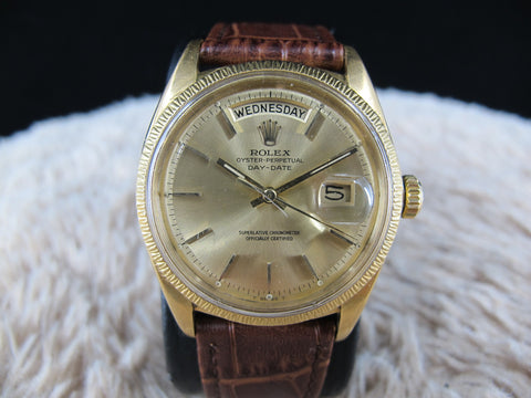 1967 Rolex DAY-DATE 1807 (not 1803) 18K Gold with Original Bark Gold Bezel