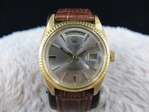 1978 Rolex DAY-DATE 1803 18K Gold with Original Silver Grey Dial with Paper