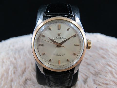[1952] Rolex Bubbleback 6085 Champagne Dial with Rose Gold Bezel and Markers