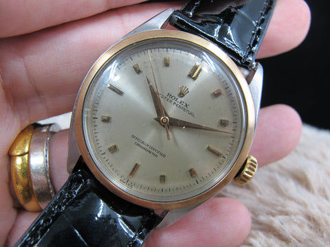 1952 Rolex Bubbleback 6085 Champagne Dial with Rose Gold Bezel and Markers