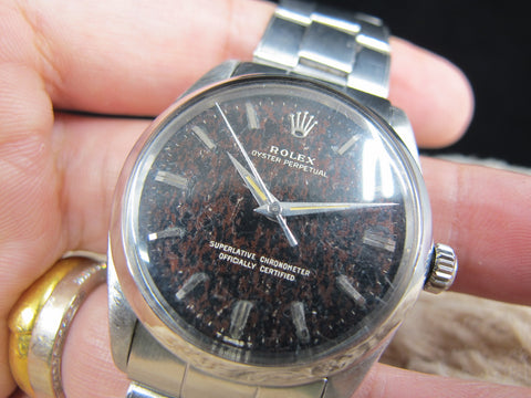 1959 Rolex OYSTER PERPETUAL 1002 Original Tropical Gilt Dial with Dauphine Hands