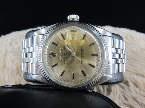 1959 Rolex DATEJUST 6605 with Original Heavy Patina Silver Dial