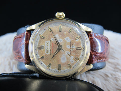 "1955 Rolex OYSTER PERPETUAL 6564 14K YG with Original 2-Step Honeycomb ""Red"" Depth Dial"
