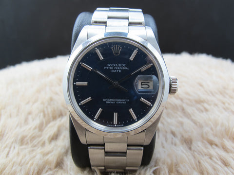 1972 Rolex OYSTER DATE 1500 Original Glossy Blue Dial with Solid Oyster