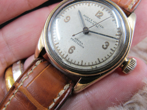 1930 Rolex OYSTER IMPERIAL 2595 9K Gold with Raised 3-6-9-12 Dial