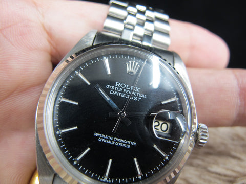 [1969] Rolex DATEJUST 1601 SS Matte Black Dial with Folded Jubilee Band