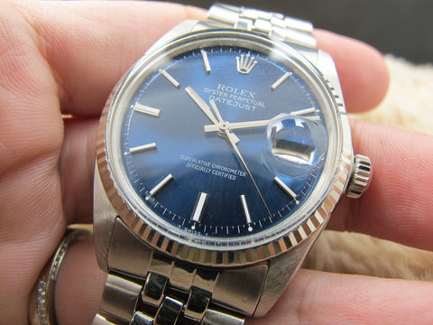 1965 Rolex DATEJUST 1601 Stainless Steel with Glossy Blue Dial
