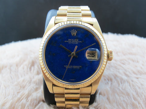 [1974] Rolex DATEJUST 1601 18K YG with Original Lapis Dial with President Band