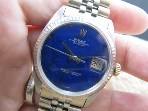[1974] Rolex DATEJUST 1601 18K WG with Original Lapis Dial with Jubilee Band