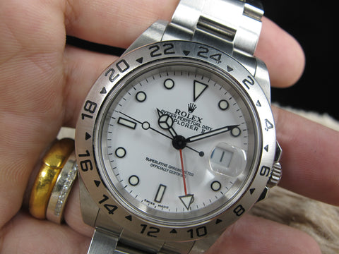 2004 Rolex EXPLORER 2 16570 White Dial (No Hole Case) with Box and Paper