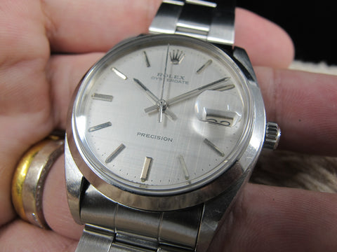 [1972] Rolex OYSTER DATE 6694 Original Silver Texture Dial with Folded Oyster Band