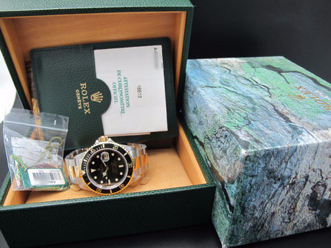 1999 Rolex SUBMARINER 16613 2-Tone Black Dial with Box and Paper