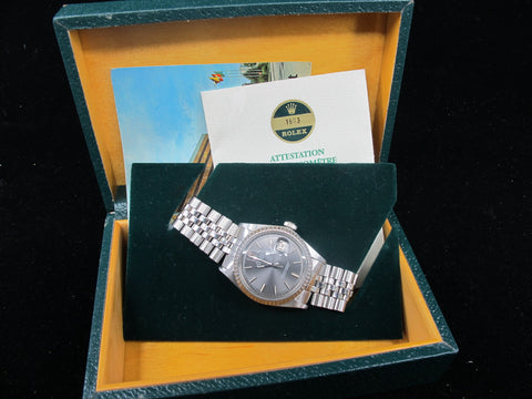 1972 Rolex DATEJUST 1603 SS ORIGINAL Grey Dial with Box and Paper
