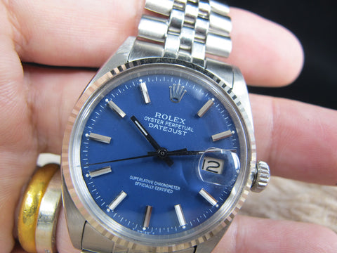 1962 Rolex DATEJUST 1601 SS Matte Blue Dial with Folded Jubilee Band