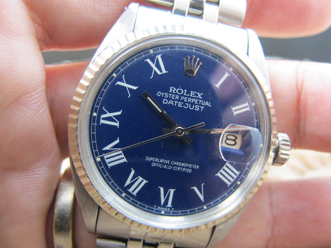 1964 Rolex DATEJUST 1601 SS Blue Roman Dial with Jubilee Band