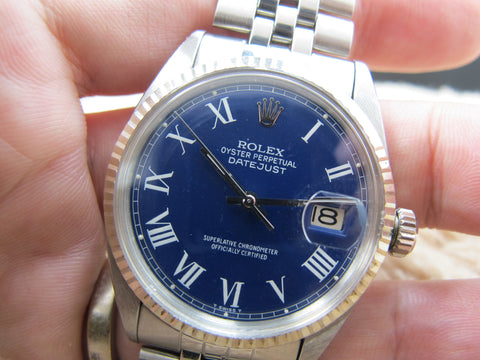 1972 Rolex DATEJUST 1601 SS Blue Roman Dial with Jubilee Band