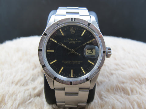 1974 Rolex OYSTER DATE 1501 Original Matt Black SIGMA Dial with Solid Oyster Band