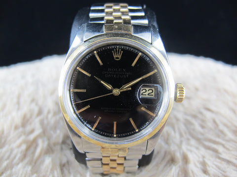 [1964] Rolex DATEJUST 1600 2-Tone SS/Gold ORIGINAL Glossy Black Dial